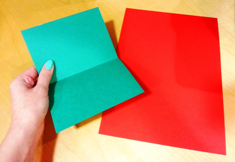 Use paper in Christmas colours and cut it in A5 size. Fold it in half to create your greeting card. Use the book pages to decorate your greeting cards in a variety of shapes and sizes.