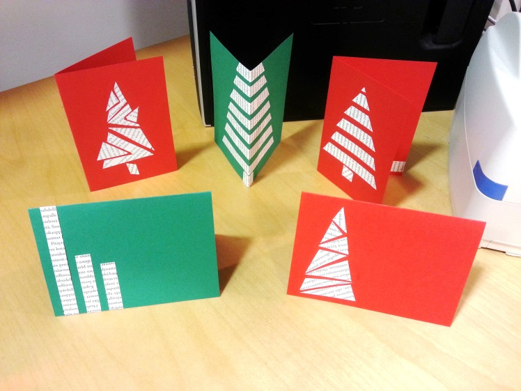 Glue the pieces of book pages on to the card and write your wishes inside. It's simple as that! Spread the holiday cheer with your own handmade greeting cards!