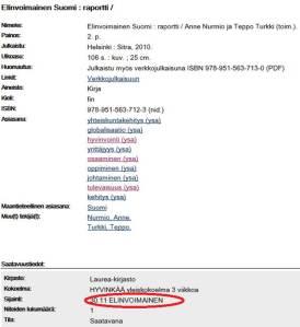 Saatavuustiedot ja sijainti: numerot ja aakkoset.